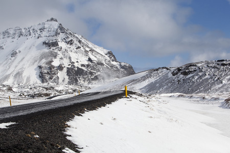 wintertime: Snowy road in wintertime, Iceland