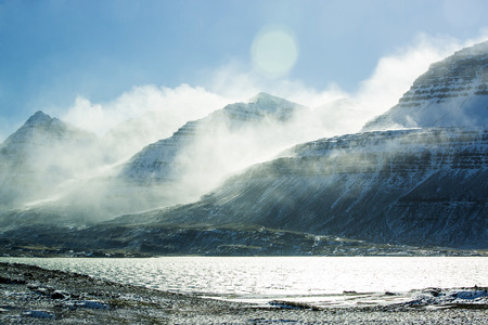 wintertime: Snowy mountain landscape in East Iceland, wintertime