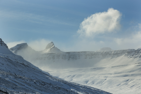 wintertime: Snowy mountain landscape in North Iceland, wintertime Stock Photo