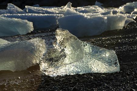 ice floes: Ice blocks at glacier lagoon Jokulsarlon in Iceland in an evening light