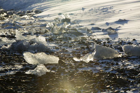 ice blocks: Ice blocks at glacier lagoon Jokulsarlon in Iceland in an evening light