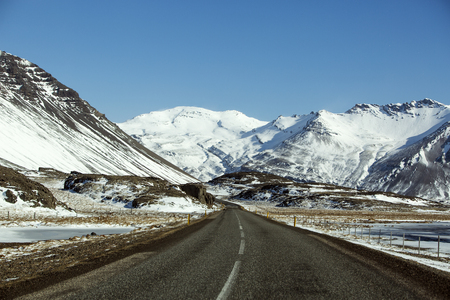 wintertime: Ring road in Iceland in wintertime