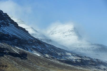 in mountain: Snowy mountain landscape in Iceland, wintertime