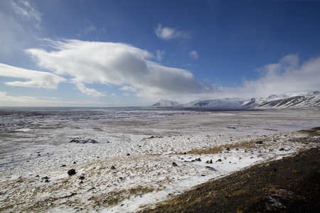 wintertime: Volcanic mountain view in Iceland in wintertime