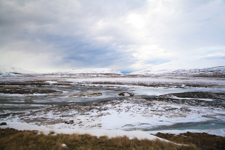 wintertime: Volcanic mountain landscape in wintertime, Iceland Stock Photo