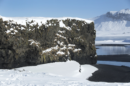 sight seeing: Basalt rocks, South Iceland in wintertime