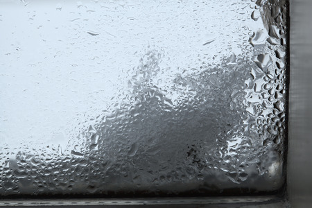 humidity: Closeup of humidity at a windowin wintertime
