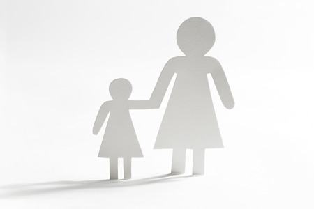 single mother: Single mother with daughter, paper figures