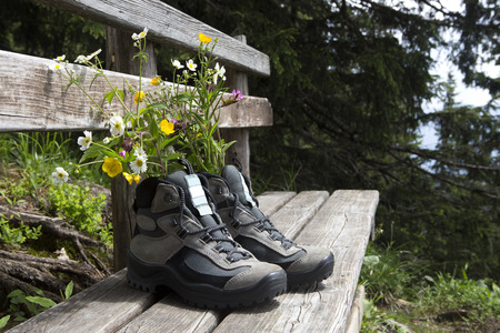hiking shoes: Hiking shoes with flowers on a bench, summertime Stock Photo
