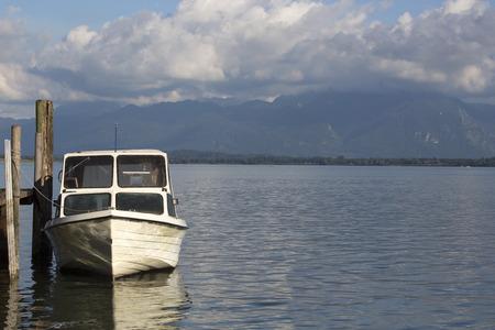 motor boat: Motor boat  at the pier at the lake Chiemsee in Bavaria