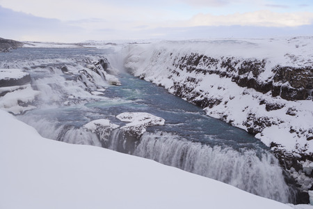 wintertime: Famous waterfall Gullfoss in Iceland wintertime