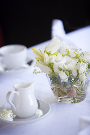 laid: Laid wedding table with coffee cups Stock Photo