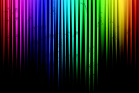 illustrated: Colorful abstract stripes on a black background, illustrated
