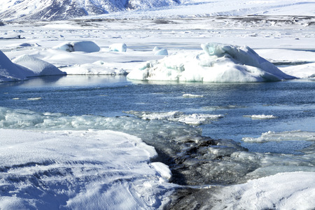atlantic ocean: Glacier lagoon Jokulsarlon in Iceland in wintertime