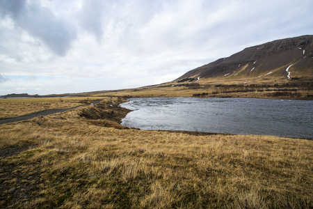 west river: River at the countryside of West Iceland in springtime Stock Photo