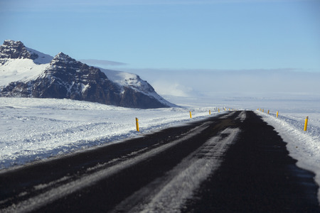 road conditions: Snowy and icy road conditions in Iceland