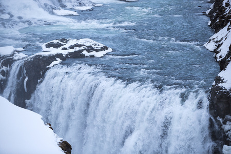 wintertime: Closeup of waterfall Gullfoss in Iceland, wintertime