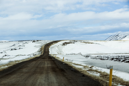 on the lonely road: Lonely road in Iceland in wintertime