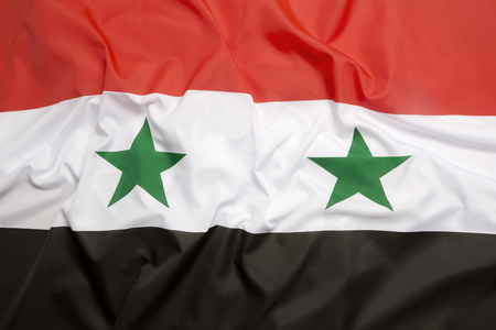 syrian civil war: Flag of Syria as a background Stock Photo