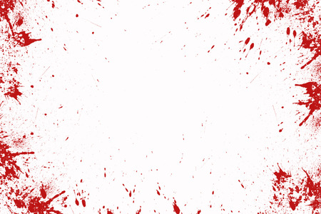 Blood splatter in front of a white background, Halloween Stock Photo