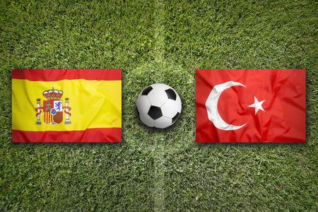 portero de futbol: Espa�a vs Turqu�a banderas en campo de f�tbol verde
