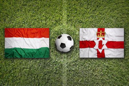 northern ireland: Hungary vs. Northern Ireland flags on green soccer field