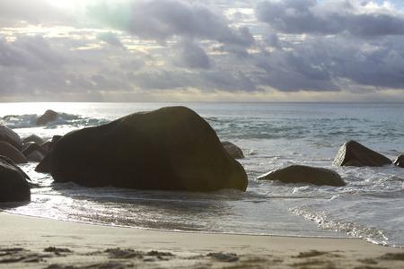 lazio: Coast of Anse Lazio, Praslin Island in evening light, Seychelles
