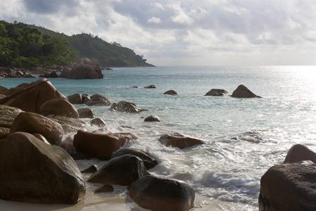 lazio: Rough waves at Anse Lazio, Praslin Iceland, Seychelles Stock Photo