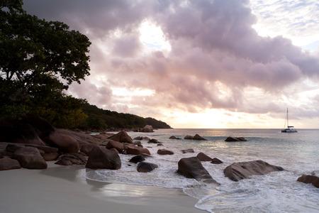 lazio: Sunset of landscape view of Anse Lazio, Praslin island, Seychelles