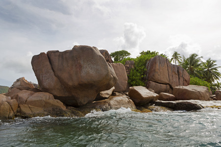 pierre: Granite coast at tropical St. Pierre island at Seychelles, Indian Ocean Stock Photo