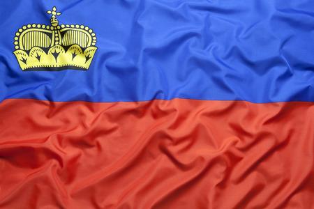 liechtenstein: Textile flag of Liechtenstein for a background