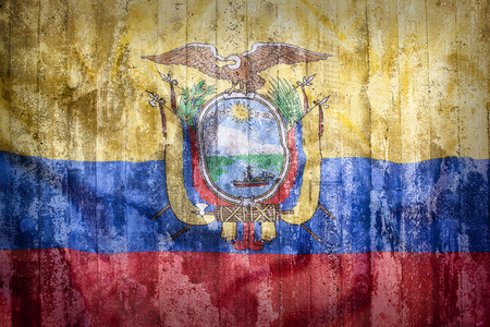 middle america: Grunge style of Ecuador flag on a brick wall for background Stock Photo