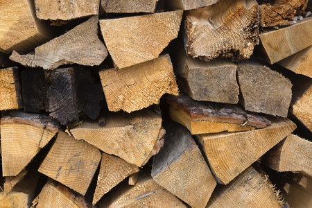 combustible: Wooden stacks for firewood Stock Photo