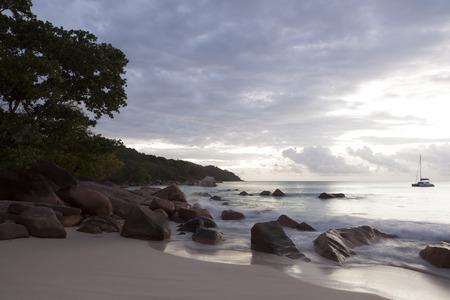 lazio: Dramatic coastline at sunset, Anse Lazio, Seychelles