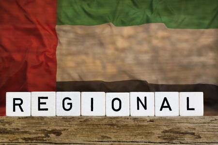 Regional concept, United Arab Emirates, on wooden background