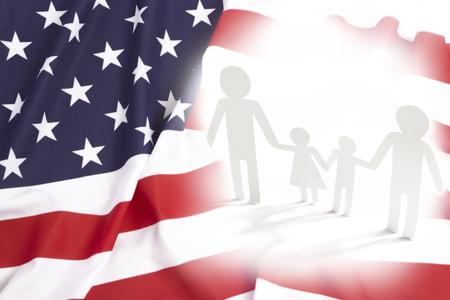 Same-sex family in USA, flag concept