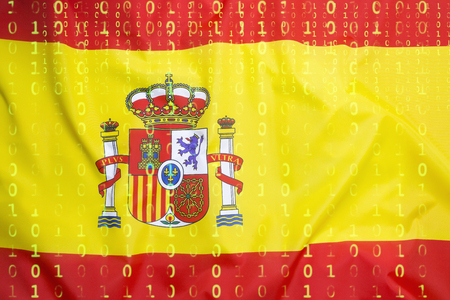 Data protection, binary code with Spain flag