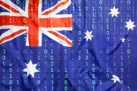 Data protection, binary code with Australian flag Standard-Bild