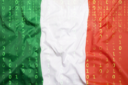 Data protection, binary code with Italy flag Standard-Bild
