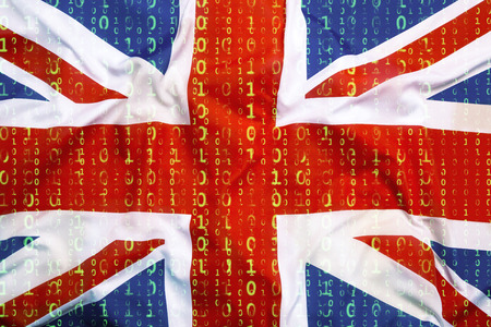 Data protection, binary code with Great Britain flag