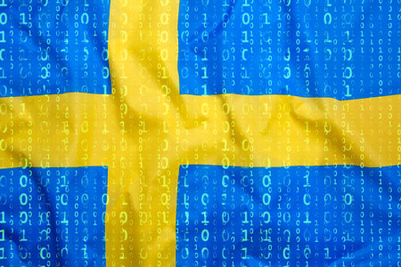 Data protection, binary code with Sweden flag