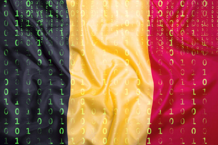Data protection, binary code with Belgium flag