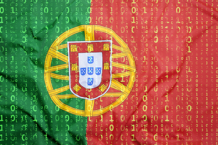 Data protection, binary code with Portugal flag