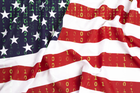 Data protection, binary code with US flag