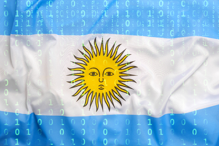 Data protection, binary code with Argentina flag