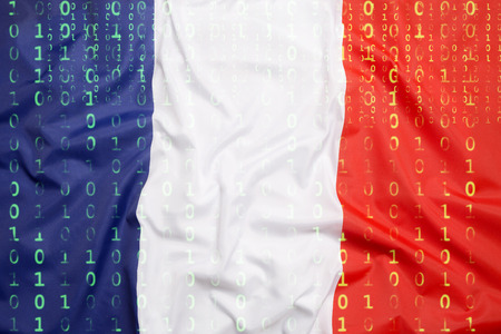 Data protection, binary code with France flag
