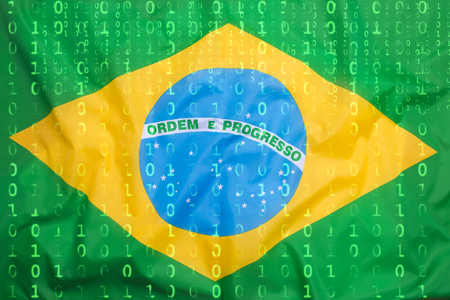 Data protection, binary code with Brazil flag