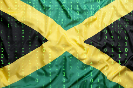 Data protection, binary code with Jamaica flag