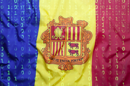 Data protection, binary code with Andorra flag