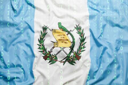 Data protection, binary code with Guatemala flag Standard-Bild